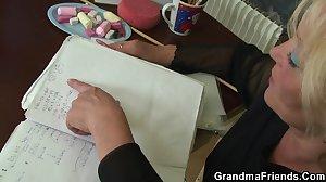 Granny teacher and boys teen