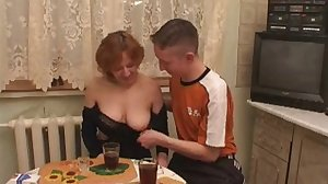 Two boys fuck mature women