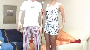 Crazy Russian mature and karaoke boy