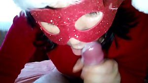 Christmas blowjob with Cum in mouth HOT..