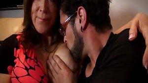 Breastfeeding mom and son